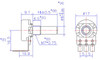 technical drawing  for right angle pcb potentiometers