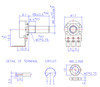 """Technical drawing for right-angle PCB mount 16mm potentiometer with smooth 1/4"""" shaft"""