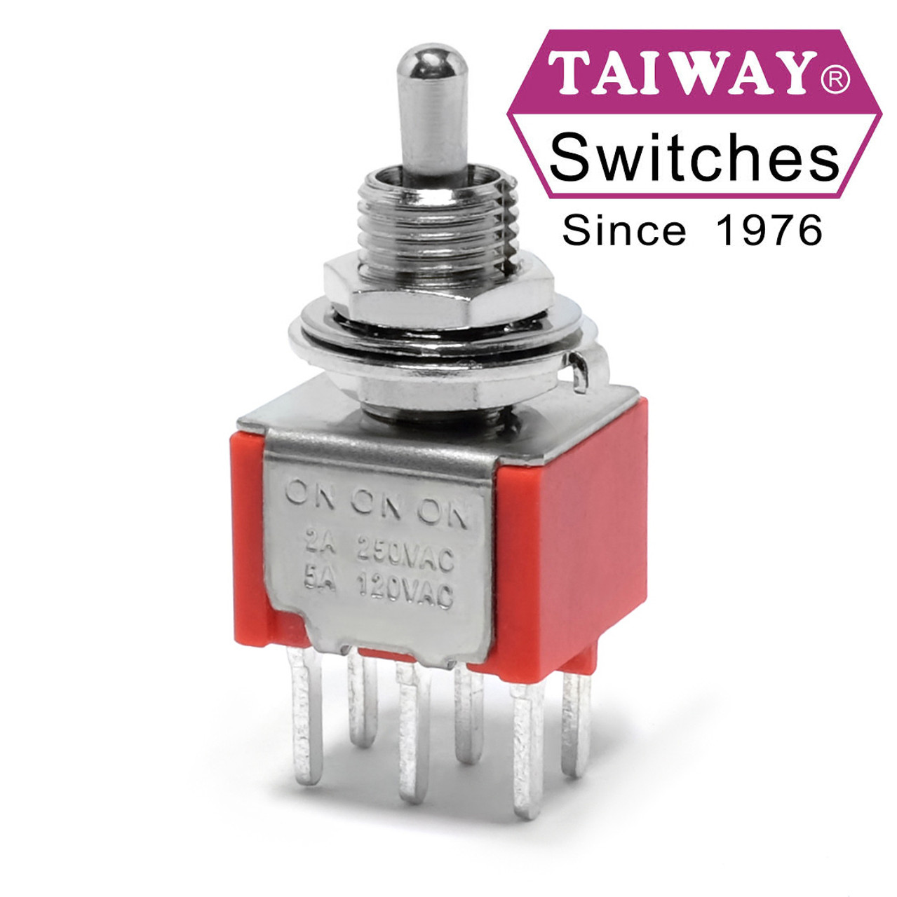 Taiway DPDT On On On Switch - PCB Mount - Short Shaft on