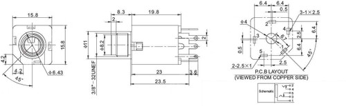 "1/4"" Stereo Switched Enclosed Jack - 5 Pins schematic"
