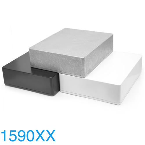 1590XX / 1790NS Enclosures in bare aluminum and powder coat finishes