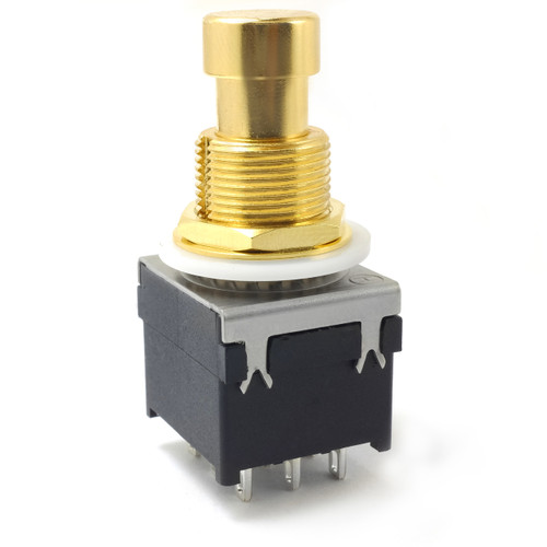 3PDT Latched Foot Switch - Solder - Gold