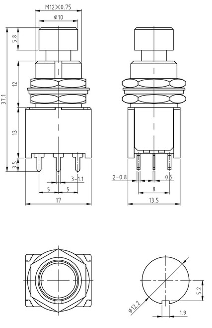 technical drawing for 3PDT Momentary Foot Switch - Low Profile - Solder Lugs