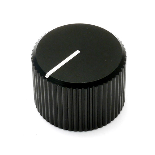 Black anodized aluminum knob with 6.0mm shaft.