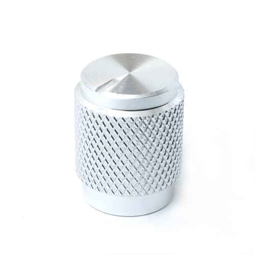 "Shiny silver solid aluminum knob for 1/4"" shaft"