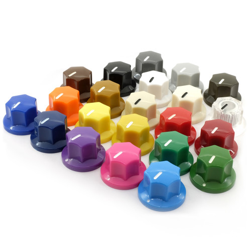 "MXR in Color - Small fluted knobs for 1/4"" smooth shaft potentiometers - all colors"