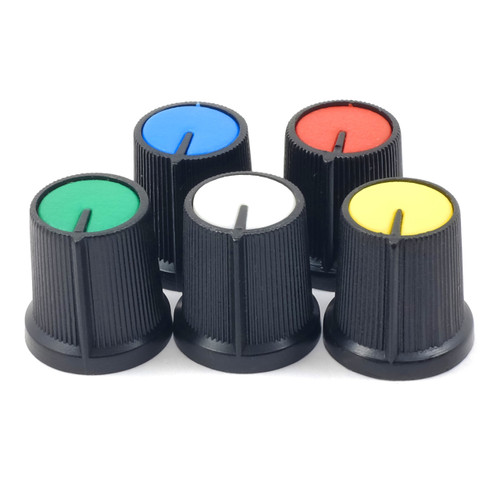 abs cap knob for knurled shafts all colors