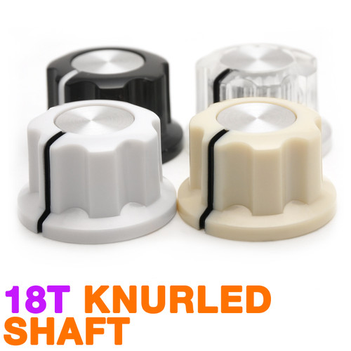 Boss Style Knob in Color - Knurled Shaft (20mm OD)