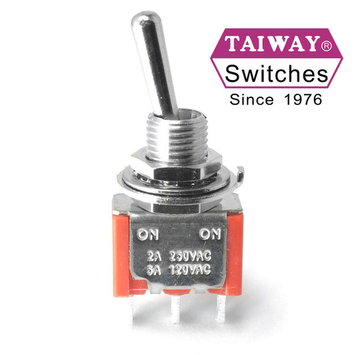 Taiway brand toggle #100-SP1-T100B1M1QE - SPDT On On Switch - Solder Lug - Long Shaft