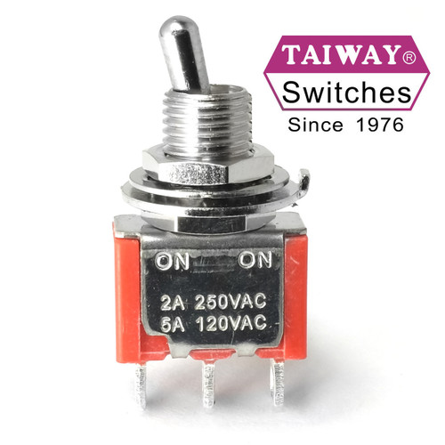 Taiway brand toggle #100-SP1-T200B1M1QE - SPDT On On Switch - Solder Lug - Short Shaft