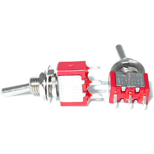 SPDT On Off On Switch - Solder Lugs - Long Shaft toggle switch for guitar and bass effects pedals