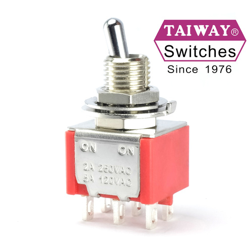 Taiway brand toggle #100-DP1-T200B1M1QE - DPDT On On Switch - Solder Lug - Short Shaft