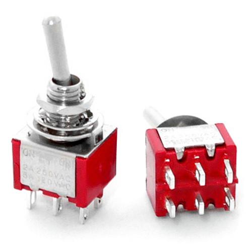 DPDT On On Switch - Solder Lug - Long Shaft