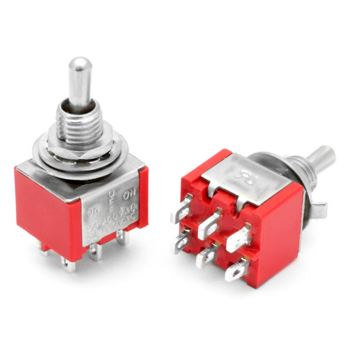 DPDT On Off On Switch - Solder Lugs - Short Shaft