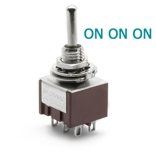 DPDT On On On Switch - Solder Lugs - Long Shaft