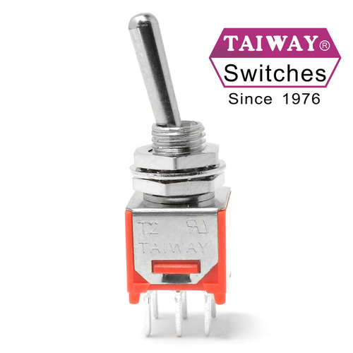 Taiway brand toggle #200-MDP1-T1B1M2QE - Sub-Mini DPDT On On Switch - PCB Mount