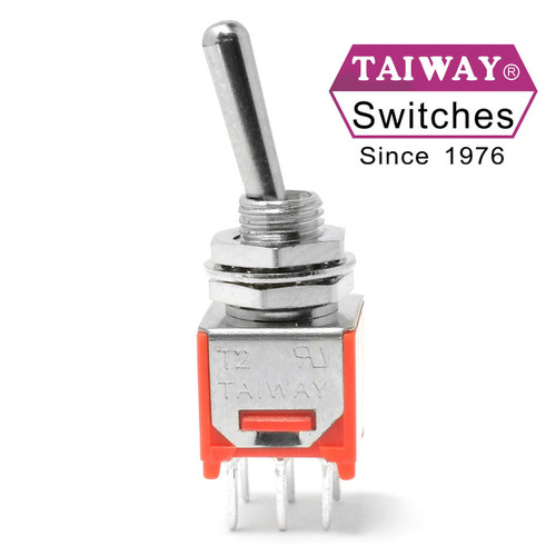 Taiway brand toggle #200-MDP1-T1B1M2QE - Sub-Mini DPDT On On Switch - PCB Mount