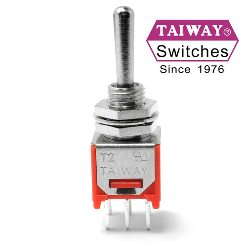 Taiway brand toggle #200-MDP6-T1B1M2QE - Sub-Mini DPDT On On On Switch - PCB Mount