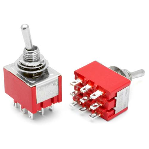 3PDT On On Switch - Solder Lug - Long Shaft