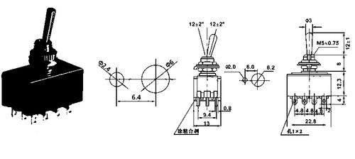Datasheet for 4PDT On On Switch - Solder Lug - Long Shaft