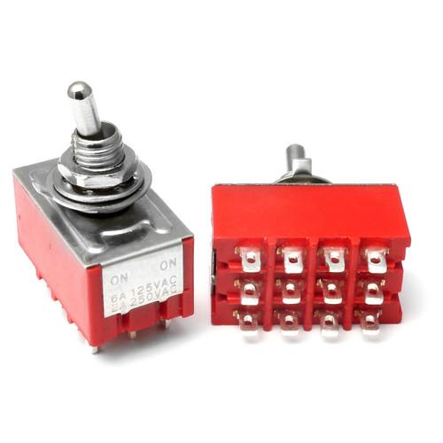 4PDT On On Switch - Solder Lug - Short Shaft