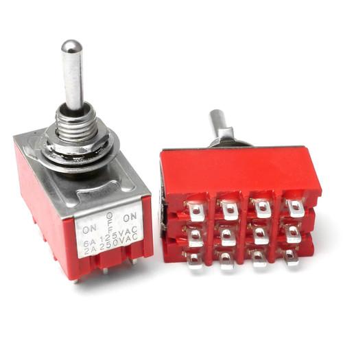 4PDT On Off On Switch - Solder Lug - Long Shaft