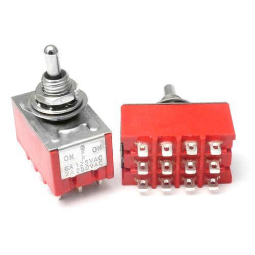 4PDT On Off On Switch - Solder Lug - Short Shaft mini