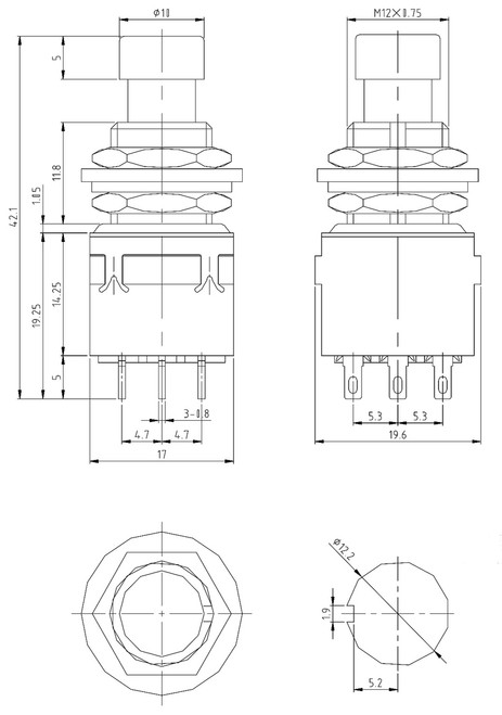 Datasheet and Technical drawing  for the 3PDT stomp box footswitch for diy guitar effects pedals