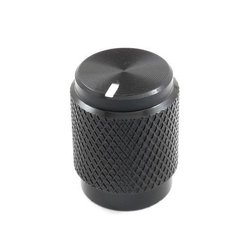 "Shiny black solid aluminum knob for 1/4"" shaft"