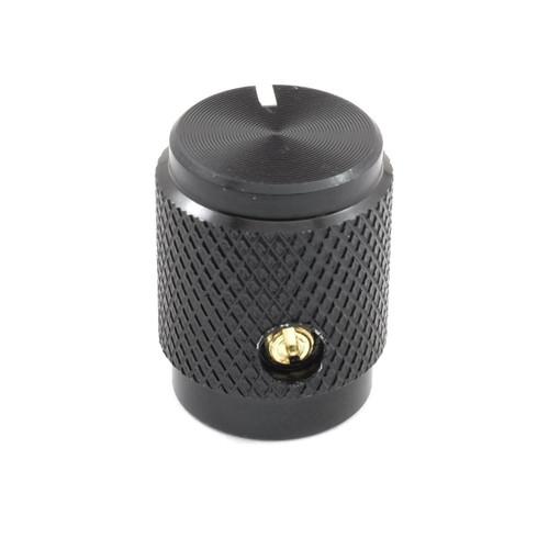 Back view of shiny black solid aluminum knob
