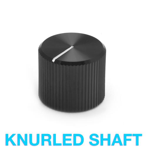 Black aluminum knob with white indicator for 18T knurled shaft potentiometer