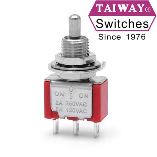 Taiway brand toggle #100-SP3-T200B1M1QE - SPDT On On Switch - Solder Lug - Short Shaft