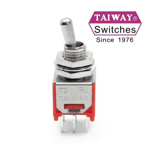 Taiway brand toggle #200-MDP1-T2B1M2QE - Sub-Mini DPDT On On Switch - PCB Mount
