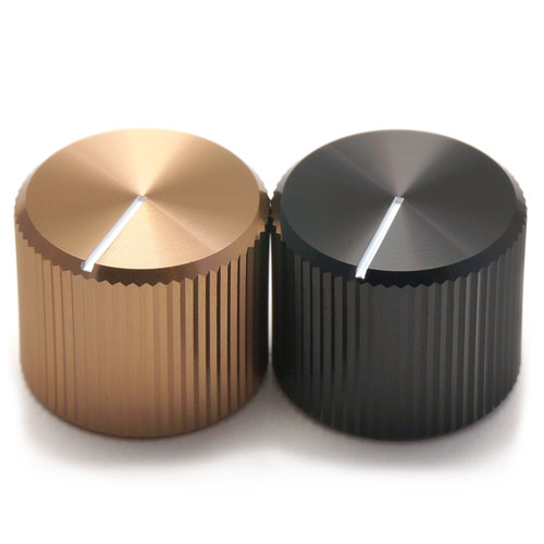 Solid aluminum knob 15mm outer diameter in black and mocha anodized finish