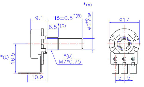16mm Potentiometer with Smooth Shaft | Right Angle PCB on