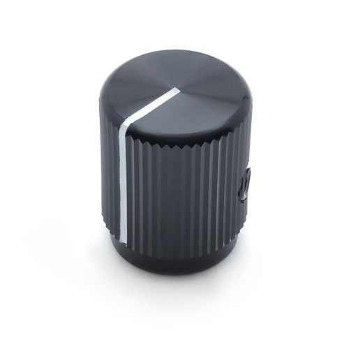 Solid black aluminum knob with white painted indicator - 16 x 12.7mm - The Falcon