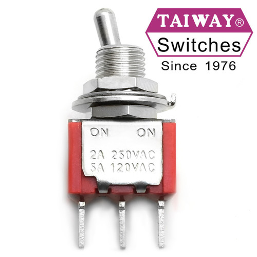 Taiway brand toggle #100-SP1-T200B1M2QE - SPDT On On Switch - PCB Mount - Long Shaft