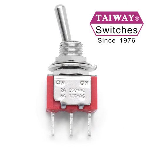 Taiway brand toggle #100-SP1-T100B1M1QE - SPDT On On Switch - PCB Mount - Long Shaft