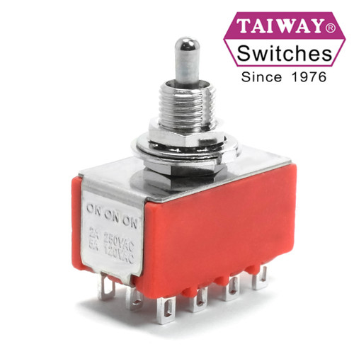 Taiway brand toggle #100-4P6-T200B1M1QE - 4PDT On On On Switch - Solder Lug - Short Shaft