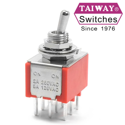 "Taiway brand toggle #100-3P1-T200B3M2QE - 3PDT On On Switch - PCB Mount - Short Shaft - ""Extra Shorty"""