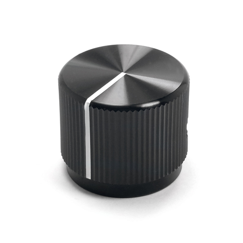 "Black aluminum knob with white painted indicator for 1/4"" smooth shaft potentiometer - ""The Eagle"""