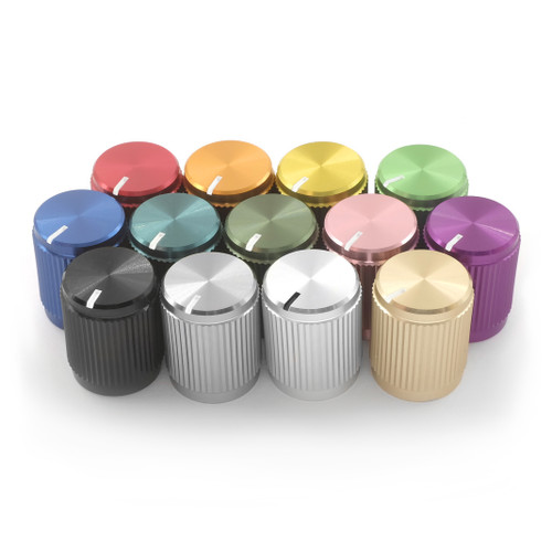 "Colors of the anodized aluminum knob ""The Magpie"" for 1/4"" smooth shaft potentiometer"