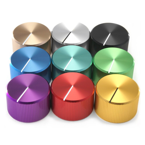 """Anodized aluminum audio control knobs for 1/4"""" smooth shaft potentiometer - nine colors"""