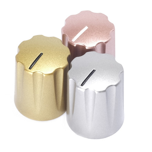 """Heavy Metal"" metallic painted Davies 1900 clone knobs in gold, silver, and rose gold"