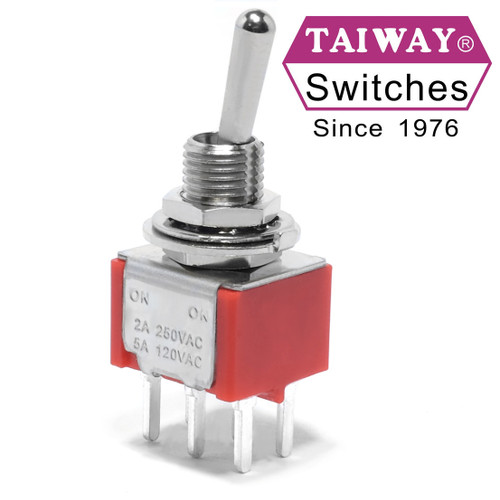 DPDT on-on toggle switch with PCB mount and long bat actuator from Taiway
