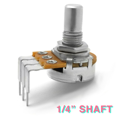 "Right-angle PCB mount 16mm potentiometer with smooth 1/4"" shaft"