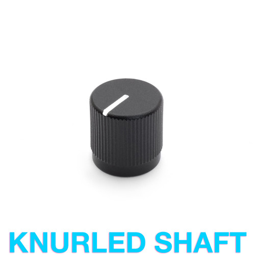 Sandblasted matte black aluminum knob for 18T knurled shaft potentiometer