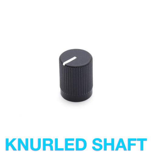 Sandblasted Black Aluminum Knob for 18T knurled shaft potentiometer - Small