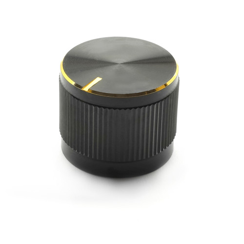 Black aluminum knob with gold finish top indicator and ring for 18T knurled shaft potentiometer - The Pharoah
