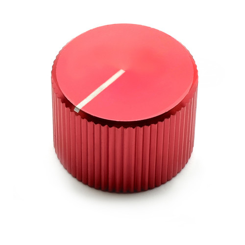 "Red anodized aluminum knob for 1/4"" smooth shaft potentiometers - 20mm diameter"